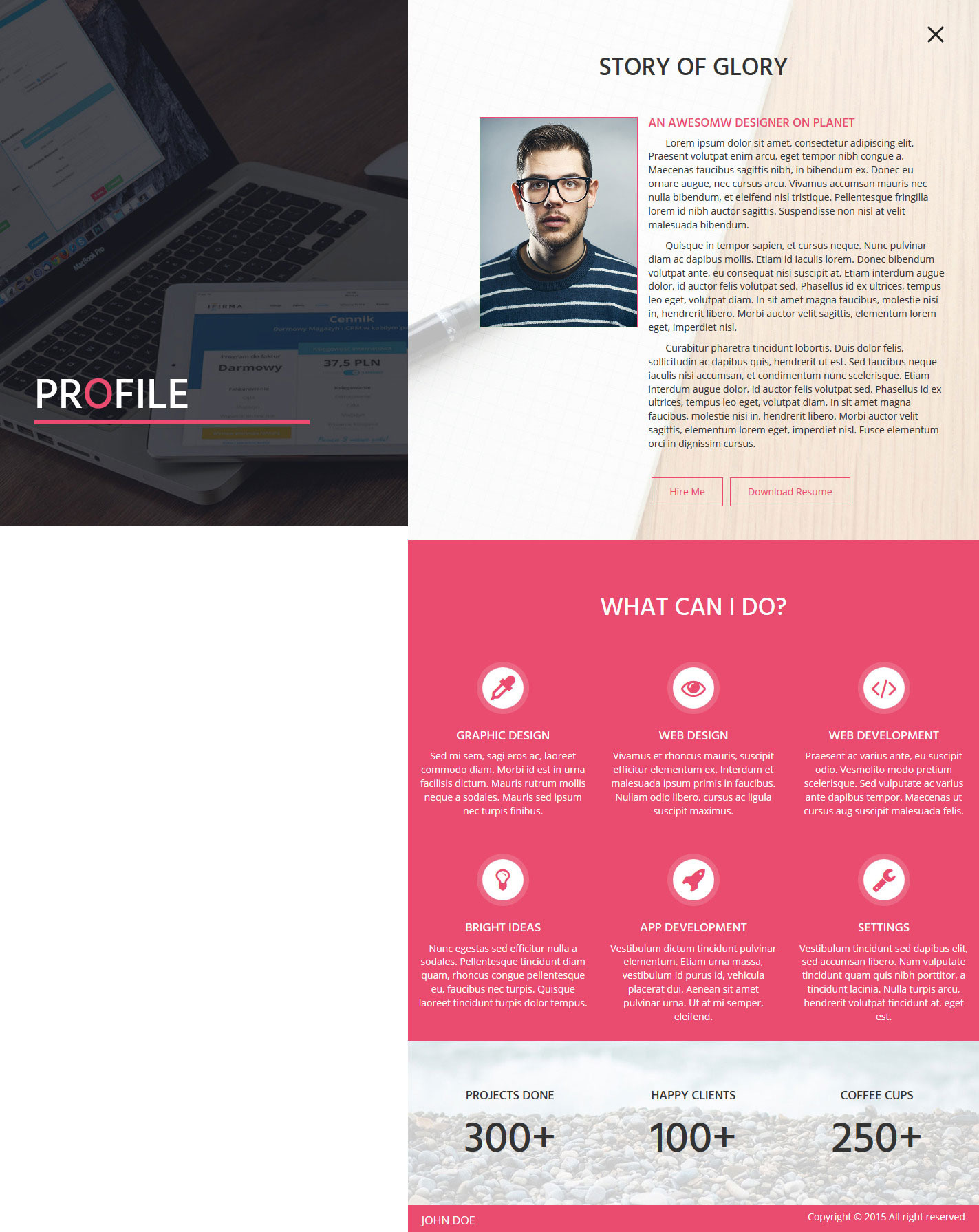 insta one page responsive resume template site