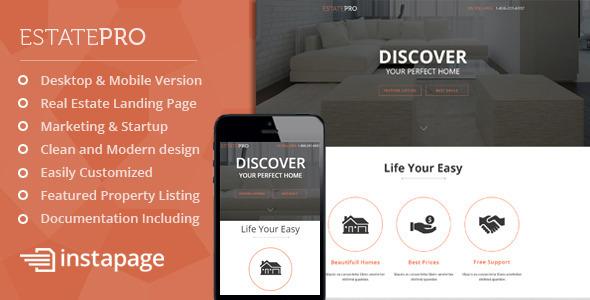 EstatePro - Real Estate Instapage Landing Page
