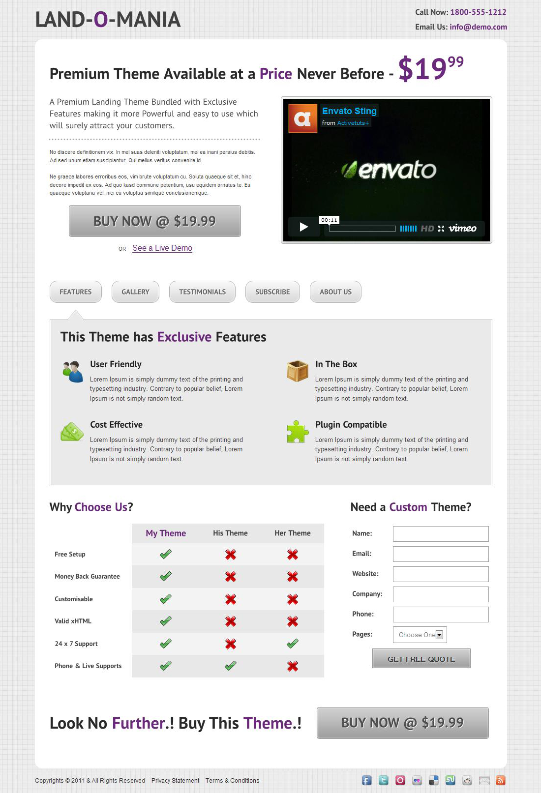 Land-o-Mania - A Complete Landing Page