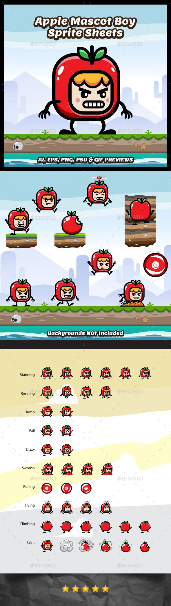 Red Apple Mascot Boy Game Character (Sprites)