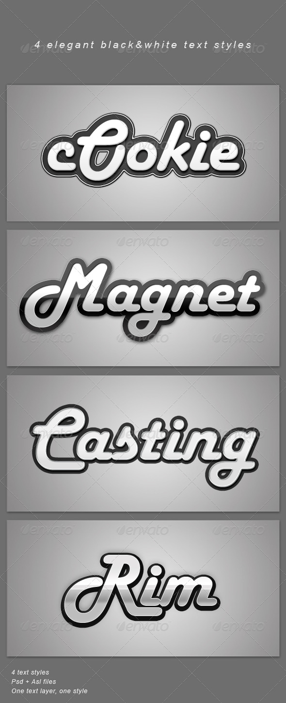 4 Elegant B&W Text Styles - Text Effects Styles