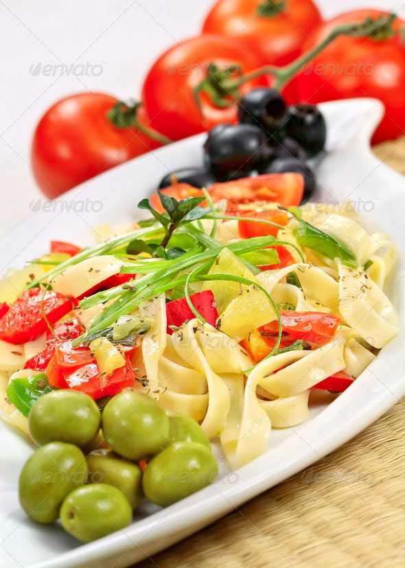 Spaghetti and vegetable - Stock Photo - Images