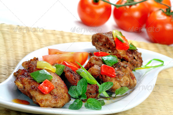 Chicken meat with vegetable - Stock Photo - Images