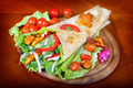 Closeup fresh tortilla on wooden tray - PhotoDune Item for Sale