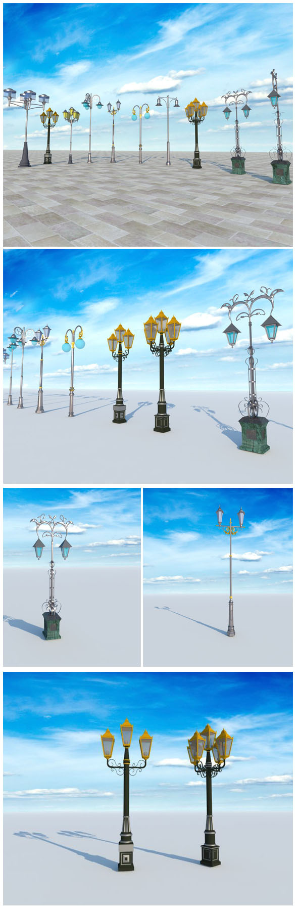 lampposts lampadaires - 3DOcean Item for Sale