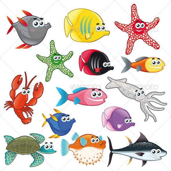 GraphicRiver Family of Funny Fish 1246070