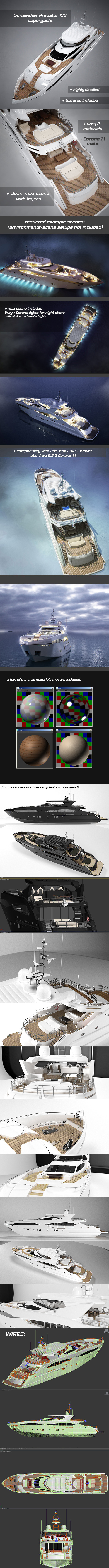 Sunseeker Predator 130 luxury yacht - 3DOcean Item for Sale