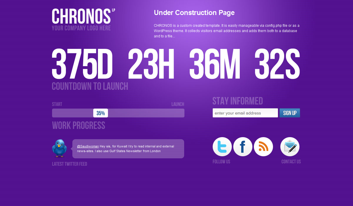 Chronos Under Construction Template + WP Theme - Purple version.