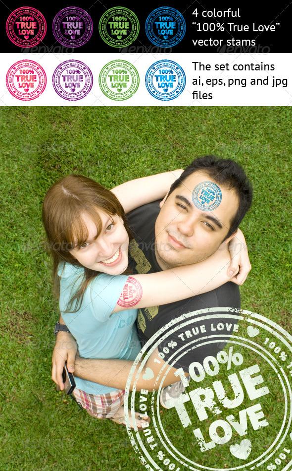 GraphicRiver 100% True Love stamps 150959