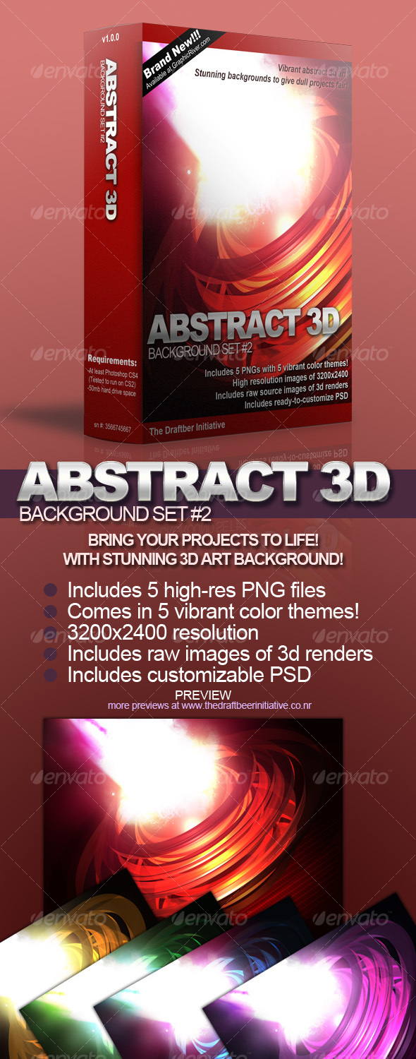 Vibrant Abstract 3D Background Set #2 - Backgrounds Graphics