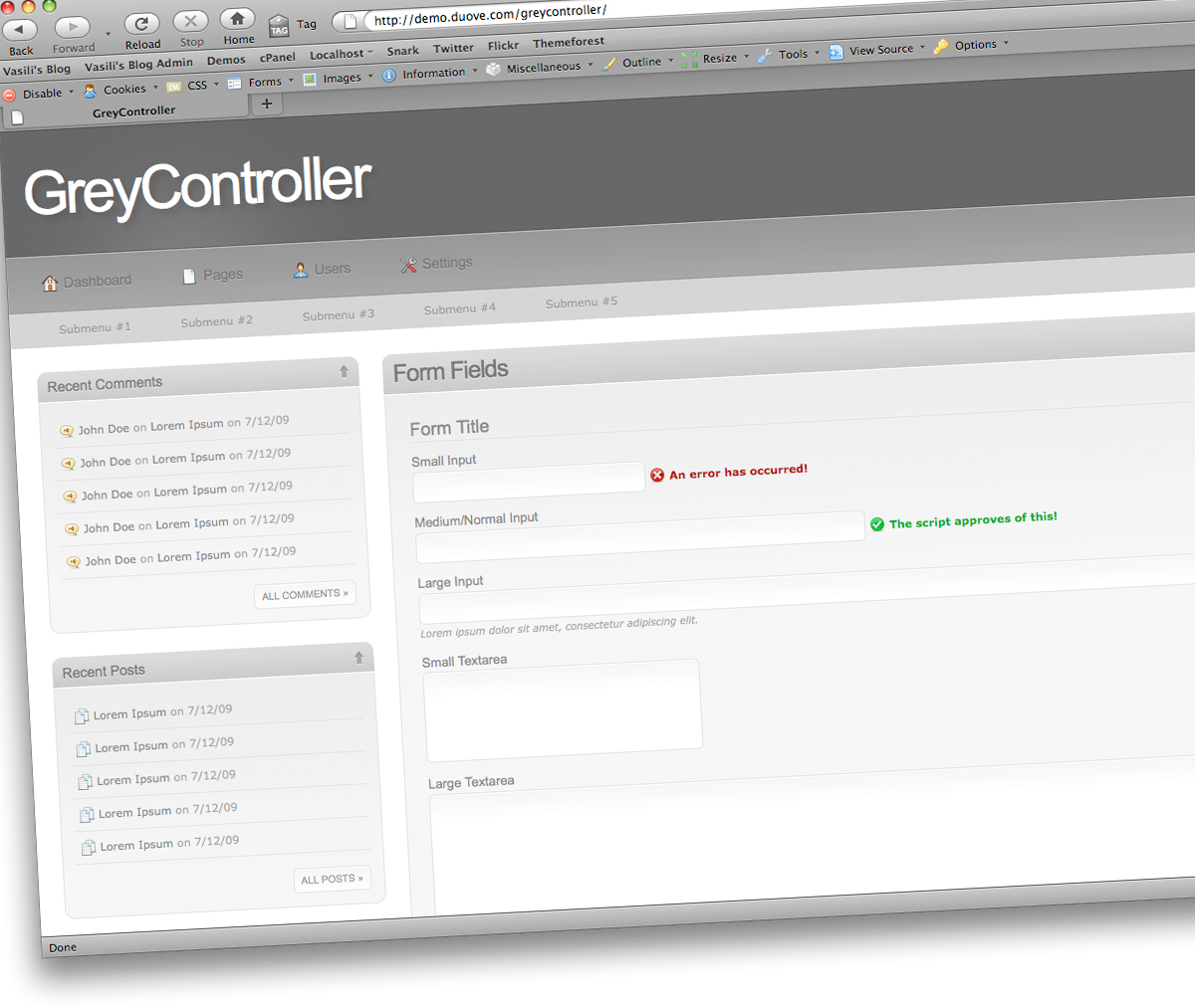 GreyController - A Clean Web 2.0 Admin Panel