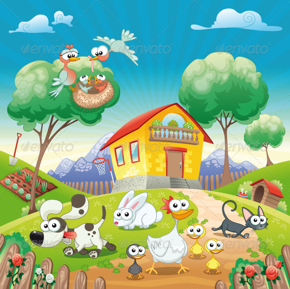 Home with Animals. - Animals Characters