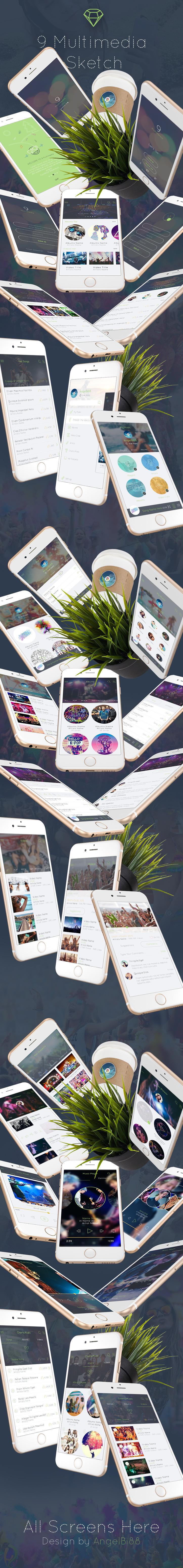 Multimedia App - Sketch Mobile UI Kit - 2