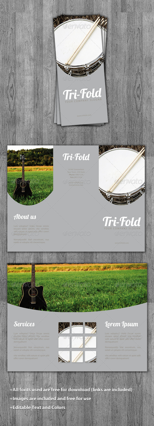 Tri-Fold Music Brochure Template