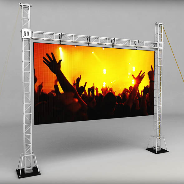 Telebim scaffolding LED screen high - 3DOcean Item for Sale
