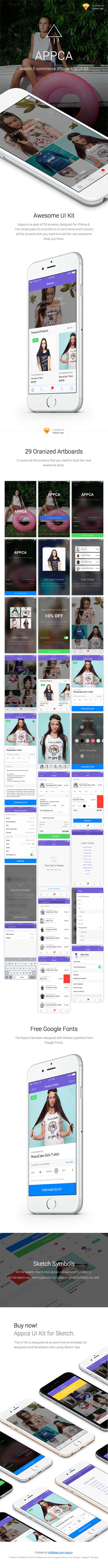 Appca - Ecommerce UI Kit for Sketch App - 1