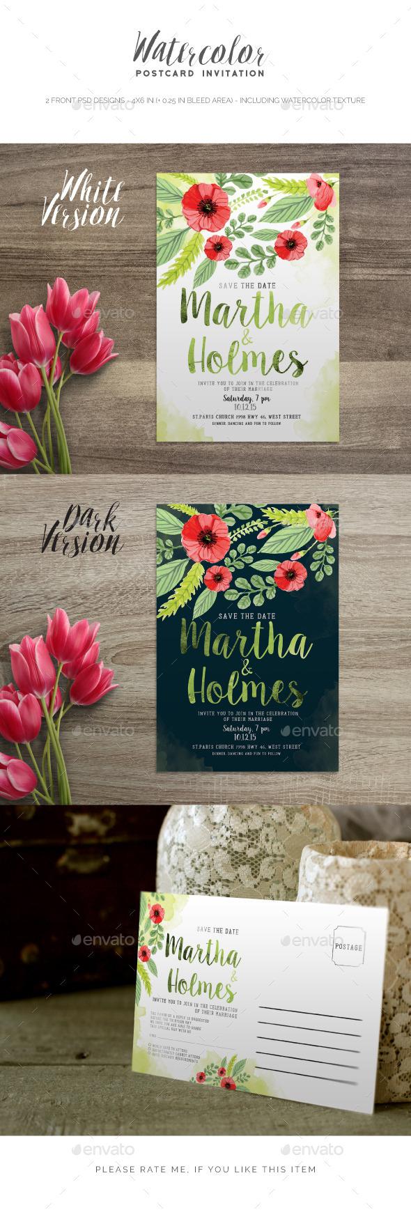 Watercolor Postcard Invitation