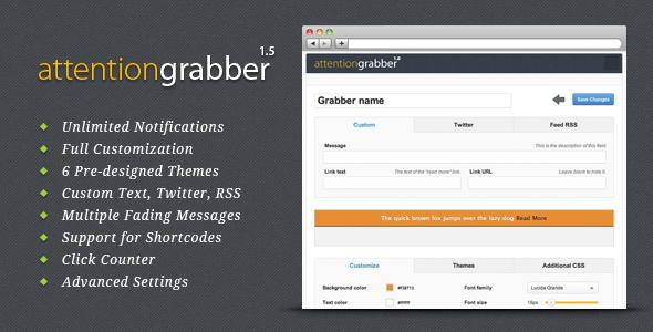 CodeCanyon attentionGrabber Wordpress Notification Bar 242027