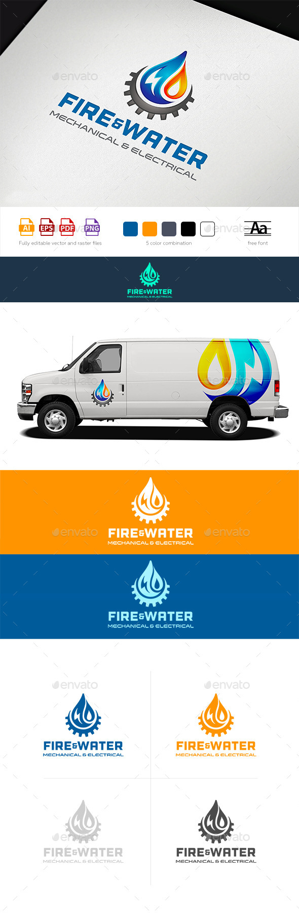 Water Fire Electro HVAC Logo Tamplate