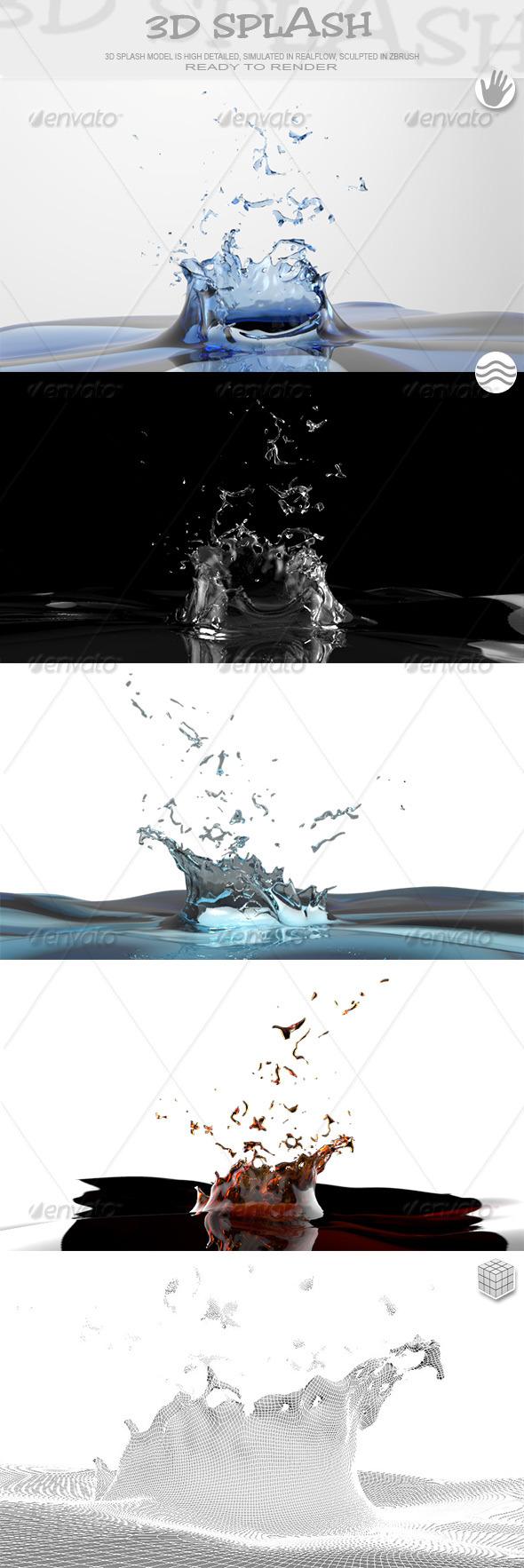 HD Crown Water Paint Liquid Splash 02 - 3DOcean Item for Sale