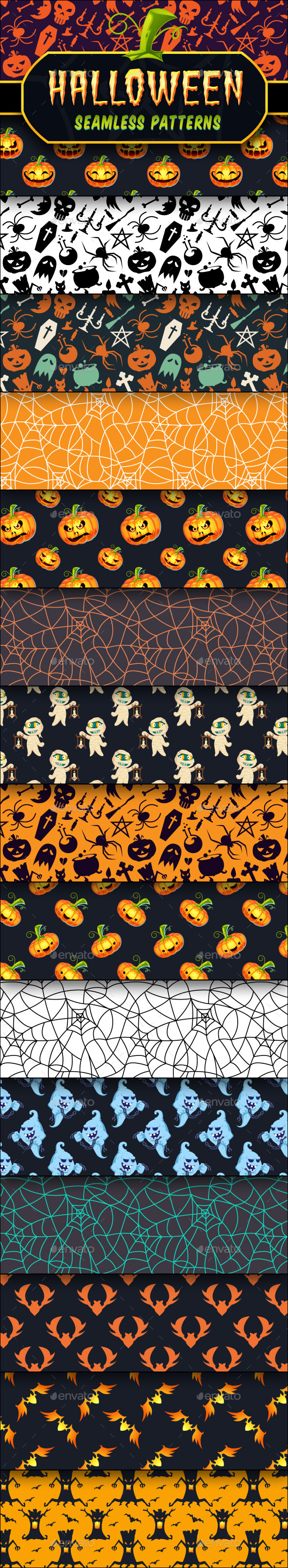 Halloween Seamless Patterns Set