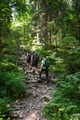Hikers family going uphill on a trail
