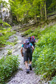 Backpackers on a steep trail