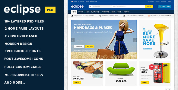 Eclipse | Modern E-commerce PSD Template