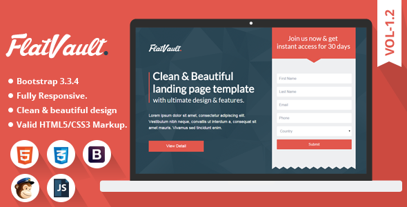 Download Multipurpose Landing Page Template - Flat Vault nulled download
