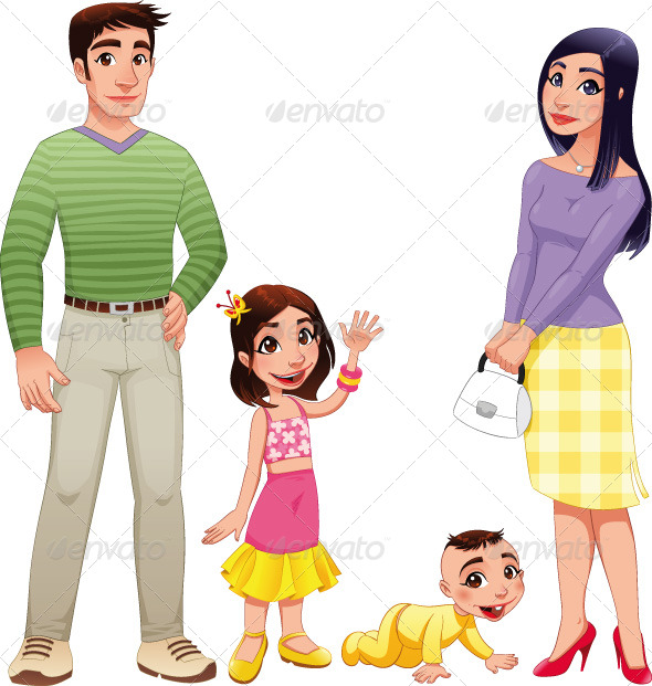 GraphicRiver Human family with mother father and children 151220