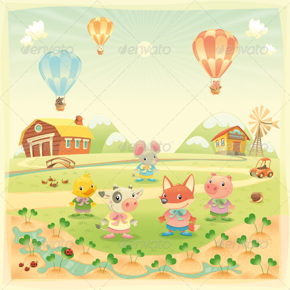 GraphicRiver Baby farm animals in the countryside 151281