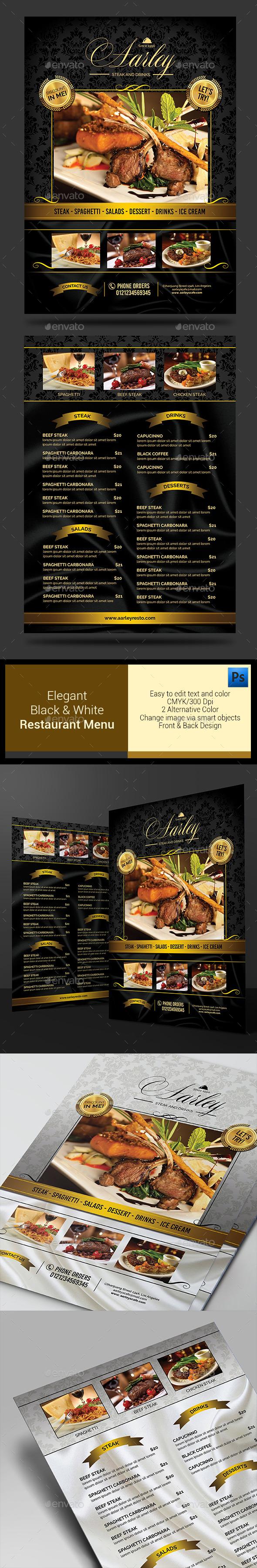 Elegant Black & White Restaurant Menu
