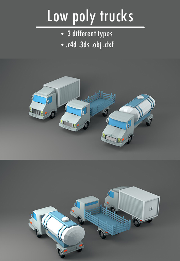 Pack of Low Poly Trucks - 3DOcean Item for Sale