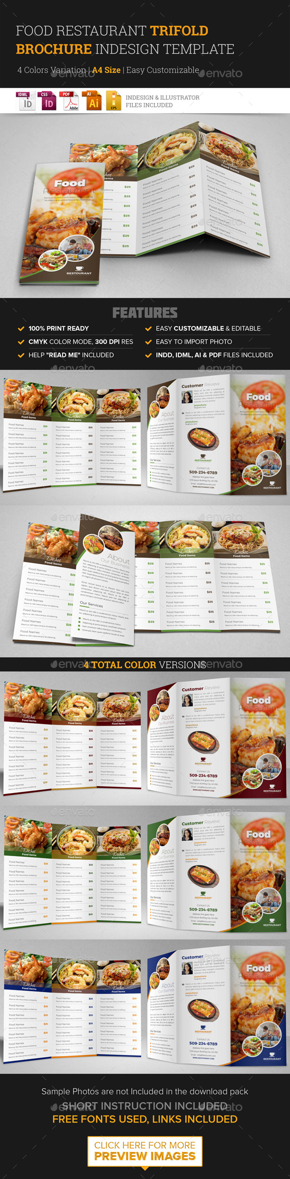 trifold brochure indesign graphics designs templates