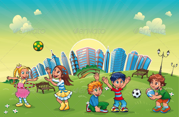 GraphicRiver Boys and girls are playing in the park 151437