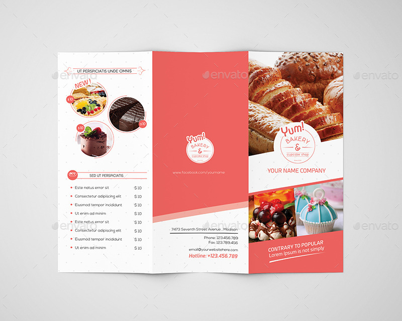 bakery brochure template free - bakery cupcake shop trifold brochure template by