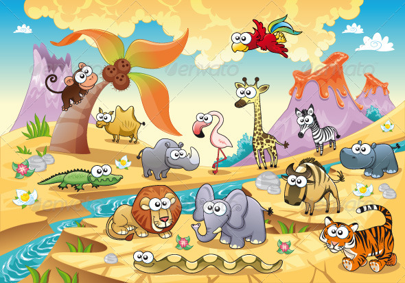 Savannah animal family with background