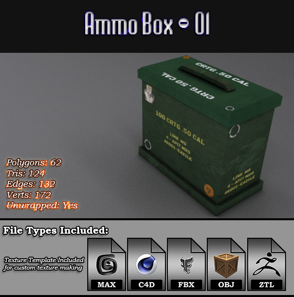 Low Poly AmmoBox - 01 - 3DOcean Item for Sale