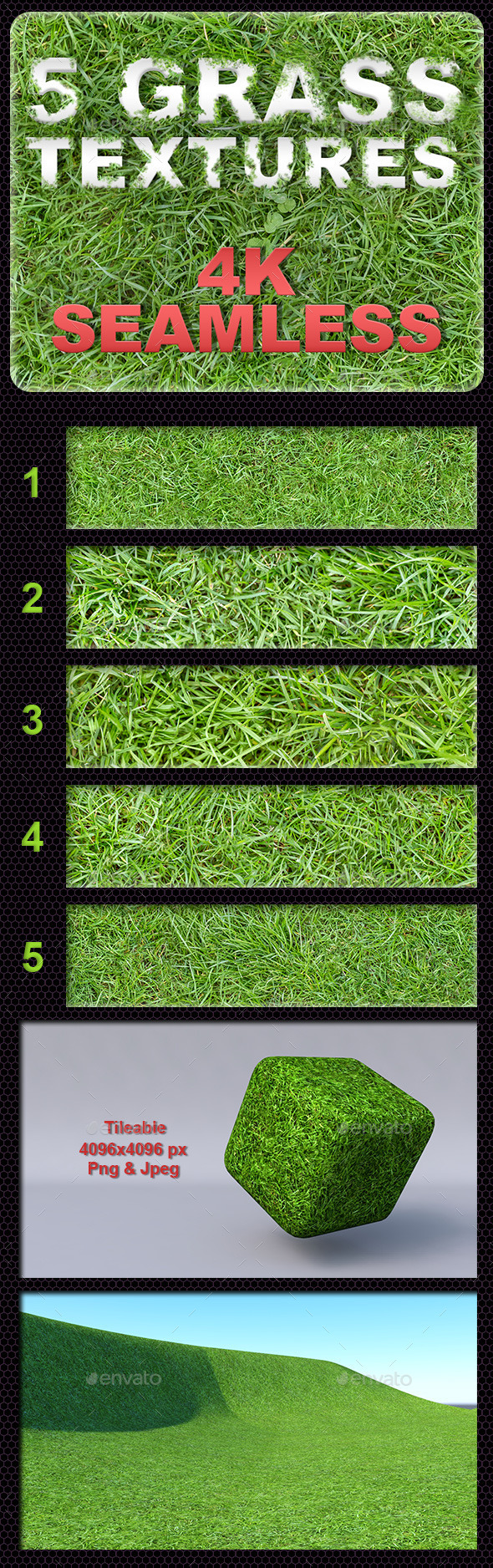 5 Grass Tileable Textures - 3DOcean Item for Sale