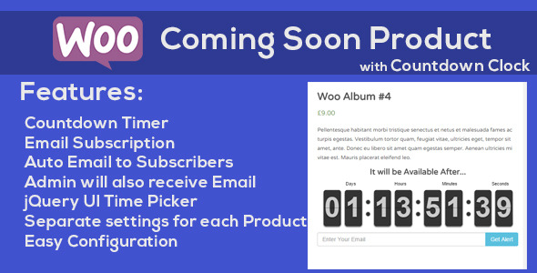 WooCommerce Coming Soon Product with Countdown