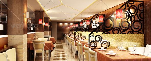 3DOcean Restaurant Interior 3D model 148853