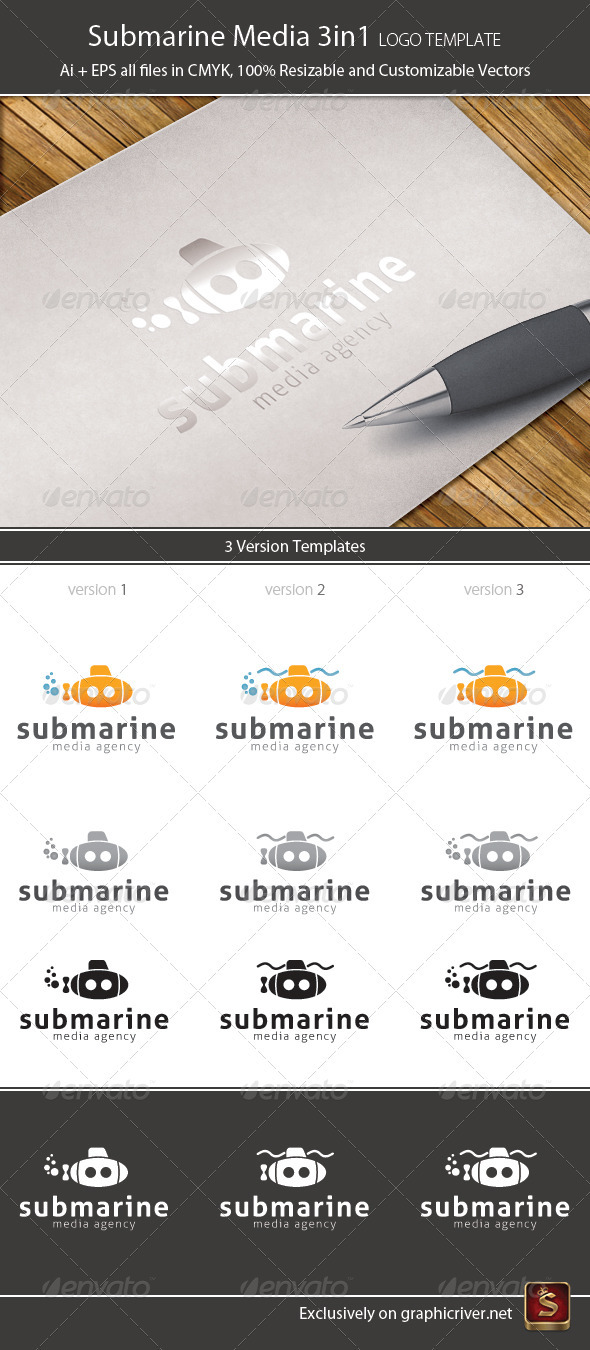 Submarine Media 3in1 Logo Template - Vector Abstract