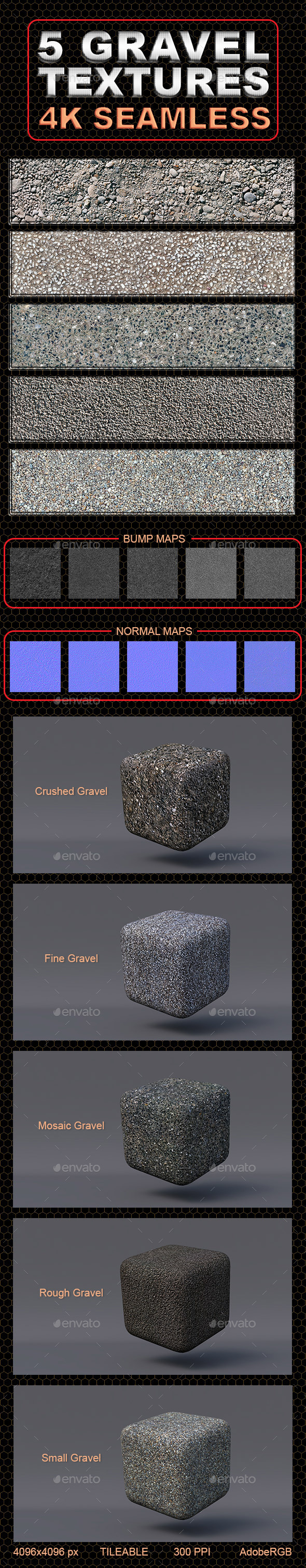 5 Gravel Textures -4K- Seamless - 3DOcean Item for Sale