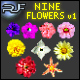 Set of Nine Flowers - GraphicRiver Item for Sale