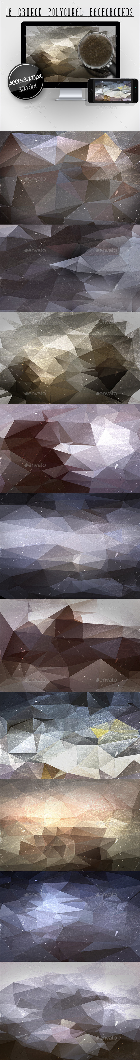 10 Grunge Polygonal Backgrounds