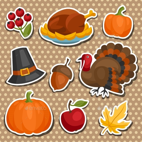 Set of Happy Thanksgiving Holiday Sticker Objects