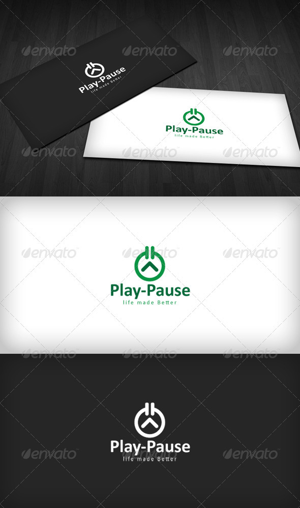Play-Pause Logo - Vector Abstract
