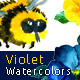 Watercolor Handmade Violet Flower Set