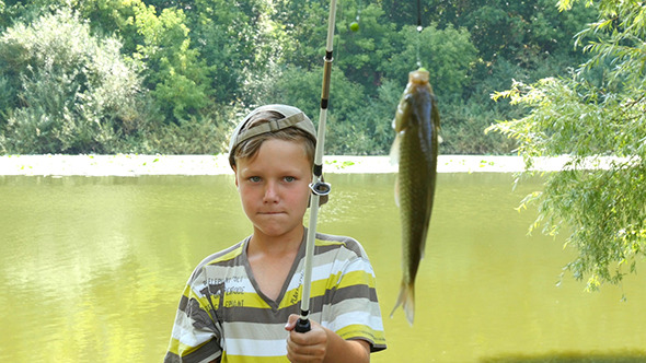 young caucasian boy with fishing pole and fish by ultrahdenis_new, Fishing Rod