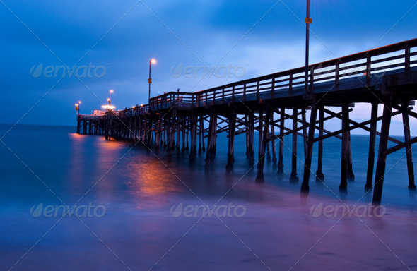Sunset from Balboa Pier, Newport Beach, California - Stock Photo - Images